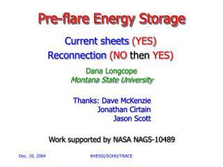 Pre-flare Energy Storage