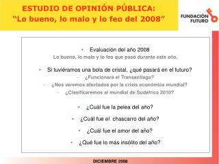"""ESTUDIO DE OPINIÓN PÚBLICA: """"Lo bueno, lo malo y lo feo del 2008"""""""