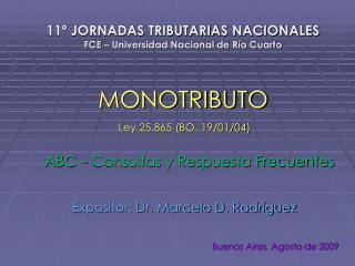 11º JORNADAS TRIBUTARIAS NACIONALES FCE – Universidad Nacional de Río Cuarto