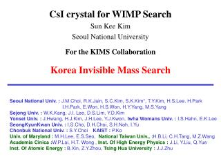 CsI crystal for WIMP Search