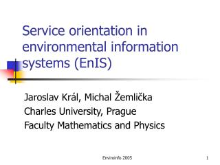 Service orientation in environmental information systems (EnIS)
