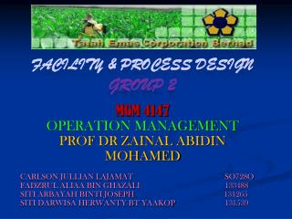 FACILITY & PROCESS DESIGN group  2