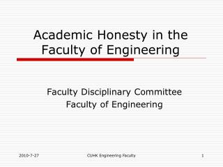 Academic Honesty in the Faculty of Engineering