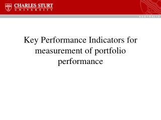 Key Performance Indicators for measurement of portfolio performance