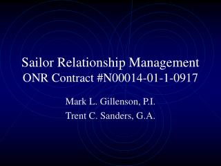 Sailor Relationship Management ONR Contract #N00014-01-1-0917