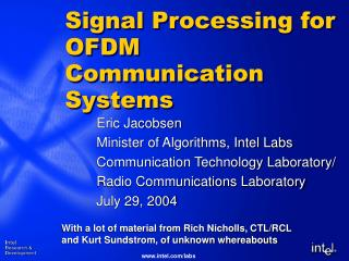 Signal Processing for OFDM Communication Systems
