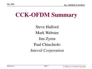 CCK-OFDM Summary