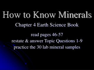 How to Know Minerals