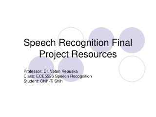 Speech Recognition Final Project Resources