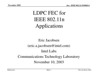 LDPC FEC for IEEE 802.11n Applications