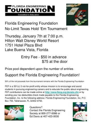 Florida Engineering Foundation No-Limit Texas Hold 'Em Tournament