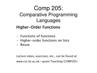 Comp 205: Comparative Programming Languages
