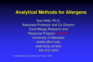 Analytical Methods for Allergens