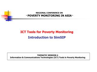 ICT Tools for Poverty Monitoring Introduction to SimSIP