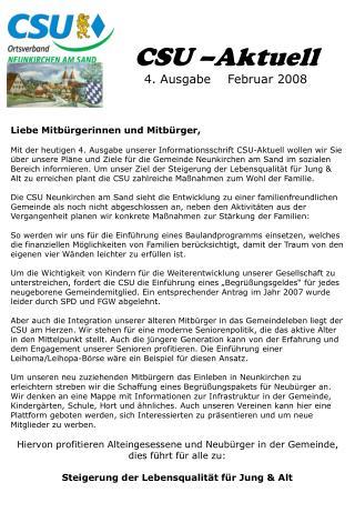 CSU –Aktuell 4. Ausgabe    Februar 2008