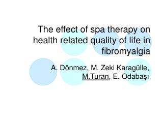 The effect of spa therapy on health related quality of life in fibromyalgia