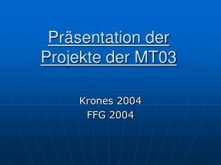 Präsentation der Projekte der MT03
