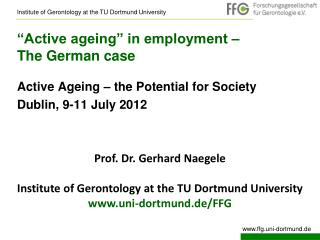 """Active ageing"" in employment –  The German case"