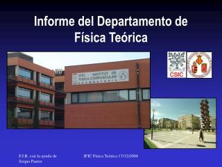 Informe del Departamento de F�sica Te�rica