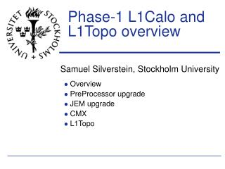 Phase-1 L1Calo and L1Topo overview