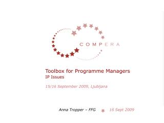 Toolbox for Programme Managers  IP Issues