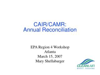 CAIR/CAMR: Annual Reconciliation