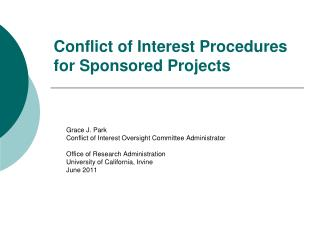 Conflict of Interest Procedures for Sponsored Projects