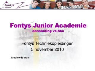 Fontys Junior Academie aansluiting vo-hbo