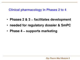 Clinical pharmacology in Phases 2 to 4
