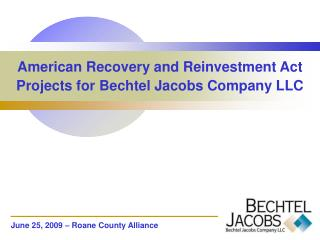 American Recovery and Reinvestment Act Projects for Bechtel Jacobs Company LLC