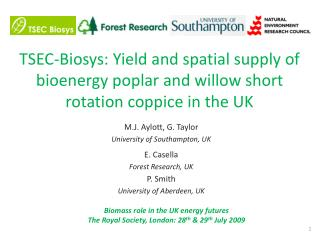 TSEC-Biosys: Yield and spatial supply of bioenergy poplar and willow short rotation coppice in the UK
