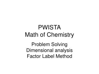 PWISTA Math of Chemistry