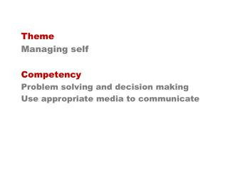 Theme Managing self Competency Problem solving and decision making