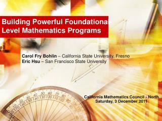 Building Powerful Foundational-Level Mathematics Programs