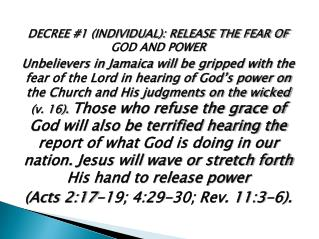 DECREE #1 (INDIVIDUAL): RELEASE THE FEAR OF GOD AND POWER