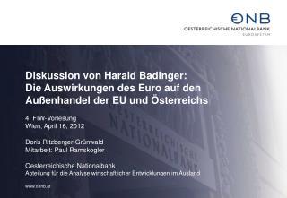 Diskussion von Harald Badinger: