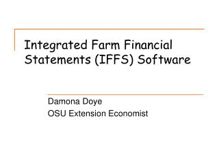 Integrated Farm Financial Statements (IFFS) Software