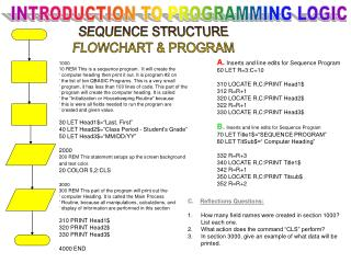 SEQUENCE STRUCTURE FLOWCHART & PROGRAM