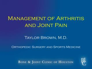 Management of Arthritis and Joint Pain