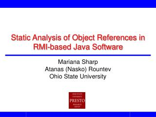 Static Analysis of Object References in RMI-based Java Software