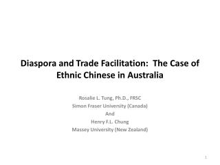 Diaspora and Trade Facilitation:  The Case of Ethnic Chinese in Australia
