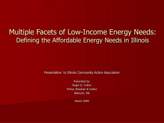 Multiple Facets of Low-Income Energy Needs: Defining the Affordable Energy Needs in Illinois