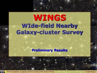 WINGS WIde-field Nearby  Galaxy-cluster Survey   Preliminary Results
