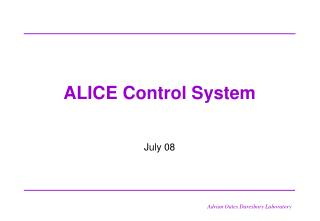 ALICE Control System