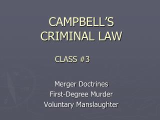 CAMPBELL S  CRIMINAL LAW