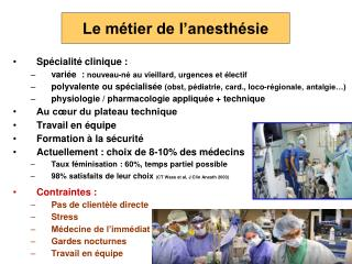 Le métier de l'anesthésie