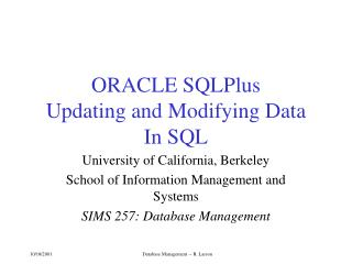 ORACLE SQLPlus  Updating and Modifying Data In SQL