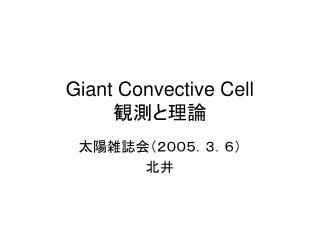 Giant Convective Cell   観測と理論