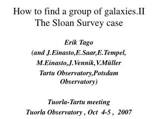 How to find a group of galaxies.II The Sloan Survey case