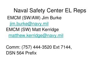 Naval Safety Center EL Reps
